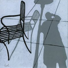 Cafe Shadows - self portrait painting by Linda Apple