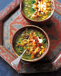 For a filling vegetarian dinner, try this warming Middle Eastern-style soup full of lentils, spices and spinach, and topped with fried onions and pine nuts.