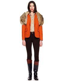 ***Minus that Possum Fur Thing on her shoulders -3X9F MICHAEL Michael Kors  Felt Blazer, Chain-Print Satin Top & Knit Side-Zip Pants