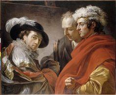 ortrait de trois hommes, par François-André Vincent, 1775. Huile sur toile, 0,81 x 0,98 m. Paris, musée du Louvre.