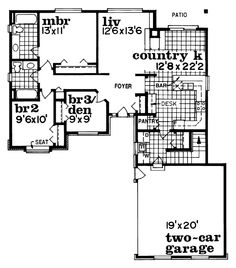 First Floor Plan of Ranch   House Plan 55263