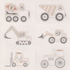 Value Pack No. 60: Construction Vehicles at Stitching Cards - ePatterns for paper embroidery
