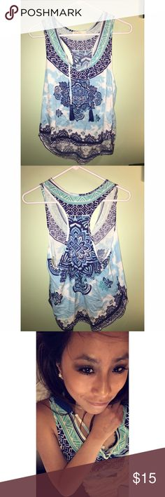 Summer tank🤙🏾 Beautiful blue patterned tank in perfect condition Ocean Drive Tops Tank Tops