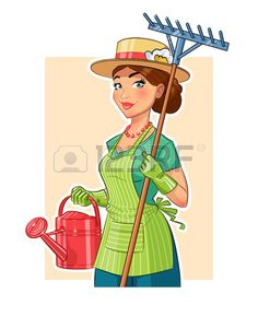 Gardener girl with rake and watering can Eps10 vector illustration Isolated on white background Stock Vector