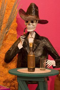 Papier Mache skeleton in Diego Rivera Museum´s Day of the Dead Altar