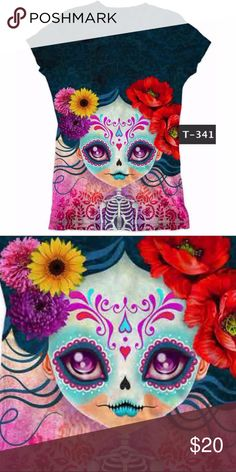 New Dia de Los Muertos T-Shirt Cotton Tee Catrina Super cute Day of the Dead t-shirt! If you love sugar skulls, Mexican Calaveras, Catrinas, Folk Art, you are gonna love our Dia de Los Muertos Collection! We have baby, children and adult sizes! We do wholesale 12 items+. Check out our many styles at Facebook/CielitoLindoMex   Our shirts are printed using the sandblasting technique which may leave fine white lines on the sides of the clothing, which is normal and not a defect. We print with…