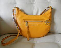 New Michael Kors Rhea Leather Zip Small Messenger Sun/Gold Yellow w/ Dust Bag #MichaelKors #MessengerCrossBody