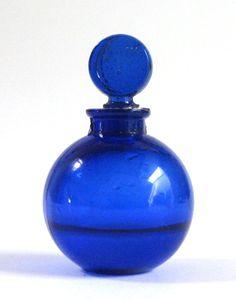 Lalique Dans La Nuit- Perfume Bottle Miniature    Vintage WORTH of PARIS Cobalt Blue Lalique Designed Perfume Bottle Dans La Nuit  The fragrance Dans