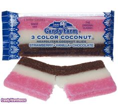Just found Neapolitan 3 Color Coconut Slice Candy Bars: Box Thanks for the Coconut Slice, Coconut Candy, Coconut Bars, Bulk Candy, Candy Store, Old School Candy, Retro Candy, Vintage Candy, 90s Candy