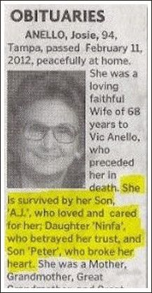 I want my obituary to be like this! Survived by her demon spawn her professional life ruining sister and her grandchildren who were just okay ^___^