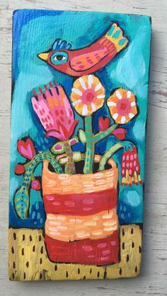 A personal favorite from my Etsy shop https://www.etsy.com/listing/472482799/small-folk-art-flower-painting-on