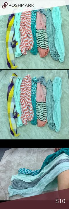 7 scarf bundle All good condition. All except for the purple/yellow plaid are infinity scarves.  Purple/ yellow, pink/white chevron are new never worn. Accessories Scarves & Wraps