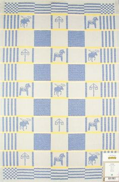 Sweden jacquard woven tea towel. Swedish design name: Sverige.  Designer: Marita Bergman.  This nice design is pixel woven with coloured cotton yarns, thereby ensuring colour-fastness.  Made in Sweden by Ekelund, Master Weavers since 1692.