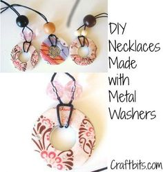"Metal Washer Necklaces/has tutorial and other samples of what you can do with a washer! Also has summary of ""All Craft Designs."""