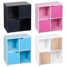 4 Cube Wooden Bookcase Shelving Display Shelves Storage Unit Wood Shelf Door New  | eBay