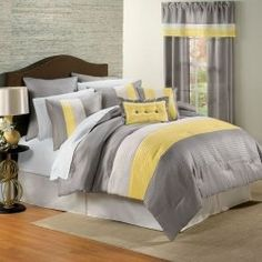 Soft and Style Gray and Yellow Comforter Sets