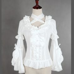 Sweet White/Black Lolita Chiffon Blouse Detachable Flare Sleeve Blouse with Criss Cross Neck