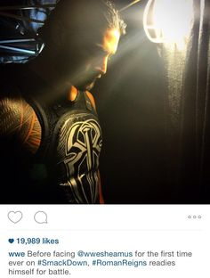 WWE Instagram Photo! The King preparing himself for battle. #RomanReigns #gatheringhisthoughts #SmackDown