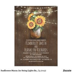 Sunflowers Mason Jar String Lights Barn Wedding