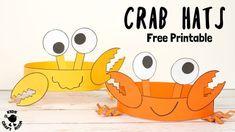 Cute and Fun Crab Hats - Kids Craft Room Beach Crafts For Kids, Arts And Crafts For Teens, Arts And Crafts House, Animal Crafts For Kids, Easy Arts And Crafts, Arts And Crafts Projects, Arts And Crafts Supplies, Summer Crafts, Art For Kids