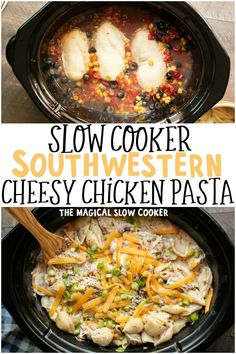 Slow Cooker Southwestern Cheesy Chicken pasta is a Mexican Style Pasta dish that your family will love. - The Magical Slow Cooker Crockpot Dishes, Crock Pot Slow Cooker, Crock Pot Cooking, Slow Cooker Recipes, Crockpot Recipes, Cooking Recipes, Chicken Recipes, Pasta Recipes, Cooking Tips