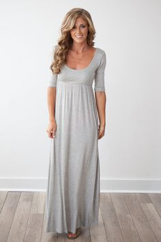 """Shop our soft and stretchy jersey knit maxi dress with scoop neck and 3/4 sleeves. Measures 58"""" from shoulder to bottom hem. Sleeves measure 14 1/2"""" from shoulder. Fits true to size. Free shipping on US orders $50 & up!"""