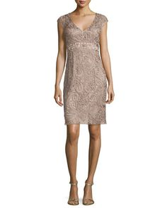 Embellished-Lace Sheath Dress, Taupe by Sue Wong at Neiman Marcus.