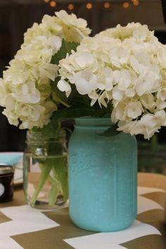 I want these in teal/grey with white flowers. Shower Party, Bridal Shower, Baby Shower, My Perfect Wedding, Dream Wedding, Mason Jar Hydrangea, Wedding Planning, Wedding Ideas, Wedding Stuff