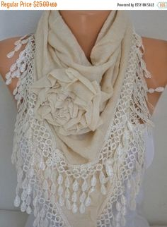 Ivory Knitted Floral ScarfWinter Scarf Shawl Cowl by fatwoman