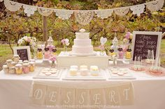 Dessert table with vintage and rustic elements. By Princess Allure Boutique Events. See in Modern Wedding DIY magazine