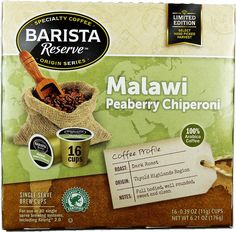 Barista Reserve LIMITED EDITION 100% Malawi Peaberry Chiperoni Coffee K-Cup for Keurig Brewers, 16 Count -- Check this awesome image  : K Cups