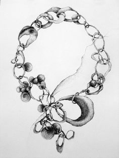 Jewellery Sketchbook - necklace drawing - jewelry design sketch; the creative design process