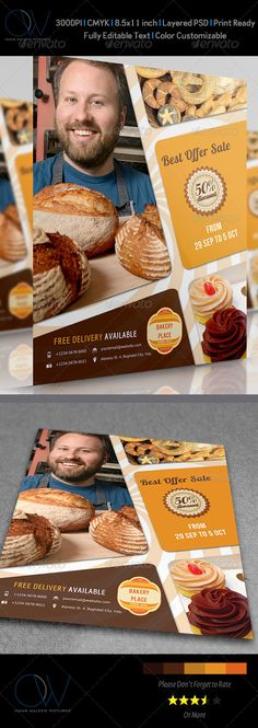 #Bakery Flyer - #Restaurant #Flyers Download here: https://graphicriver.net/item/bakery-flyer/3621112?ref=alena994