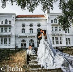 What a gorgeous shot!  A lovely wedding in Macedonia! ✈️   The bride wore a a custom made gown adorned with French lace and silk with a royal veil. ❤️  #luxury #weddings #bespoke #CustomMade #cute #love #travel #macedonia #fashion #lace #silk #beautiful #rich #kiss #traditional #ditalia #dapper