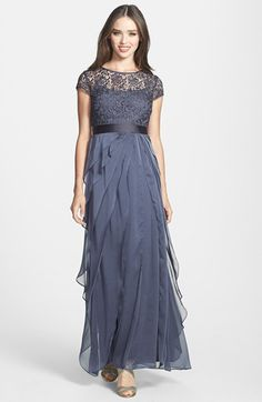 Womens 1920 Downton Abbey Inspired Clothing - Adrianna Papell Layered Chiffon & Lace Gown $240.00