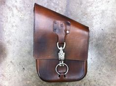 Leather Motorcycle / Chopper Solo Sidebag - Anvil Customs - 2