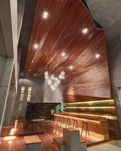 CROX International renovated a former warehouse in China into a mixed-use space whose centerpiece is a triple-height wooden cavern that houses a bar.: Ji-Shou Wang. @sandow... - Interior Design Ideas, Interior Decor and Designs, Home Design Inspiration, Room Design Ideas, Interior Decorating, Furniture And Accessories