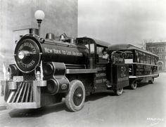 "Promoting ""Good Roads and Good Movies,"" Metro Goldwyn's ""Trackless Train"" makes a stop at the Indianapolis Public Library. (1925) http://ow.ly/r3EFG"