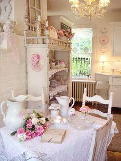 Romantic Shabby Chic Dining Room.
