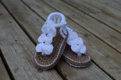 Crochet Baby Sandals Baby shoes Summer Baby por TheRainbowDesigns