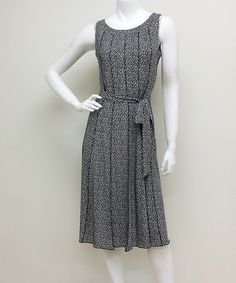 Love this Black & White Polka Dot Tie-Waist Sleeveless Dress on #zulily! #zulilyfinds.  Liking this style wwould b easy to recreate