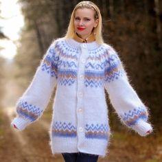 White Hand Knit Mohair Icelandic Coat Nordic Fuzzy Jacket Cardigan by SUPERTANYA #SUPERTANYA #BasicCoat