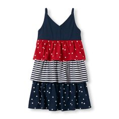 Girls Sleeveless Patriotic Tiered Dress from The Children's Place
