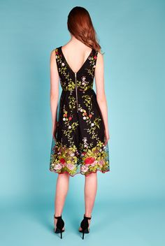 Louche Luxe Zelia Floral Embroidered Midi Dress