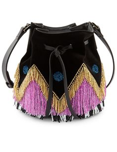 Black Fringe Dahlia Bucket Bag. bag, сумки модные брендовые, bags lovers, http://bags-lovers.livejournal