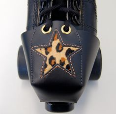 Leather Skate Toe Guards with Leopard Print Star my derby wife needs