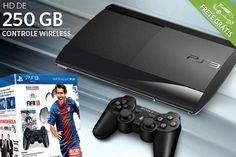 PlayStation 3 Super Slim com 250 GB (com opção de kit oficial Sony com controle sem fio Dualshock + jogo Fifa 2013), a partir de R$899.90