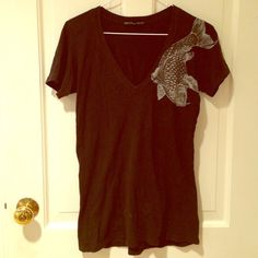 Truly Madly Deeply Koi V-Neck This edgy tee is by Truly Madly Deeply for Urban outfitters. In good used condition. Available until June 4; bundle for free with any other purchase. Urban Outfitters Tops Tees - Short Sleeve