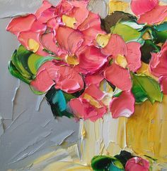 Abstract Painting Pink Floral Oil Painting by IronsideImpastos, $40.00