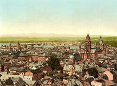 An poster sized print, approx (other products available) - Mainz, towards the Rhine, the Rhine, Germany. 1890 and ca. Date: - Image supplied by Mary Evans Prints Online - Poster printed in the USA Mainz Germany, List Of Cities, War Image, Framed Prints, Canvas Prints, Dom, Photographic Prints, Wonderful Images, Poster Size Prints